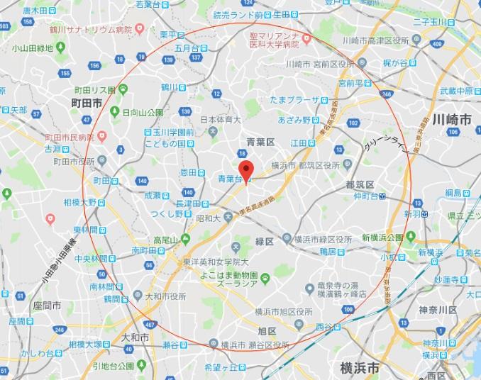 横浜市青葉区マップ
