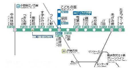 横浜市田園都市線と路線図